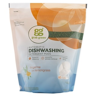 GrabGreen, Automatic Dishwashing Detergent Pods, Tangerine with Lemongrass, 60 Loads, 2lbs, 6oz (1,080 g)