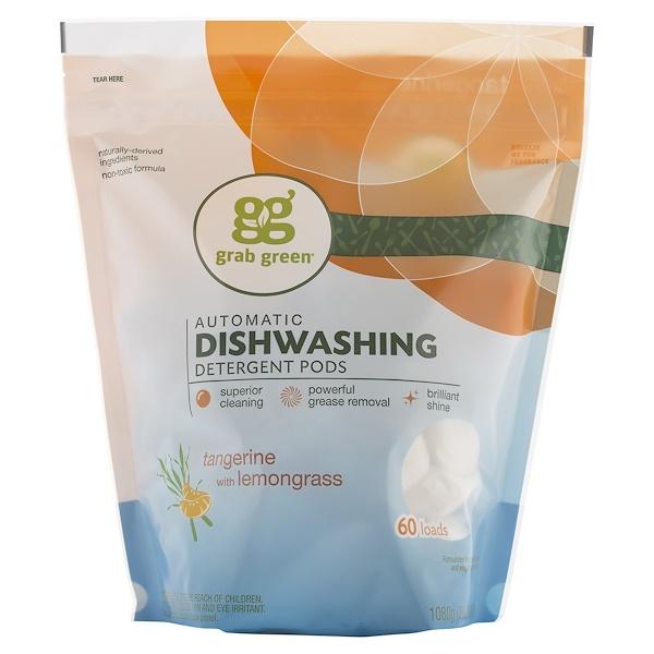 Grab Green, 自動食器洗浄機用洗剤、 タンジェリンとレモングラス、 2ポンド 4オンス (1080 g)