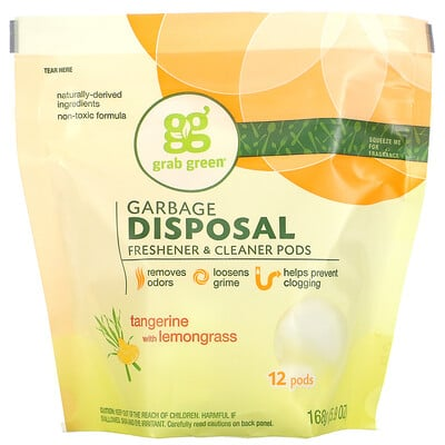 Купить Grab Green Очиститель и освежитель измельчителя отходов, мандарин и лемонграссс, 12 упаковок, 5, 9 унции (168 г)