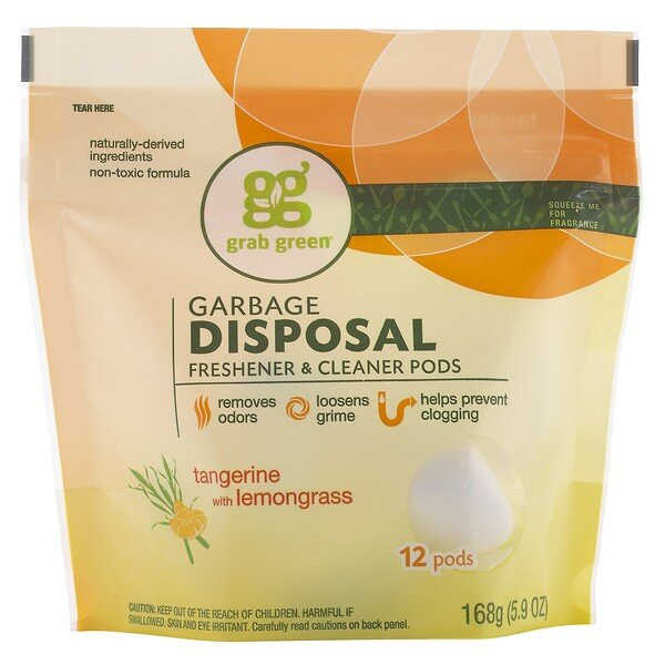 Grab Green, Garbage Disposal Freshener & Cleaner Pods, Tangerine with Lemongrass, 12 Pods, 5.9 oz (168 g) (Discontinued Item)