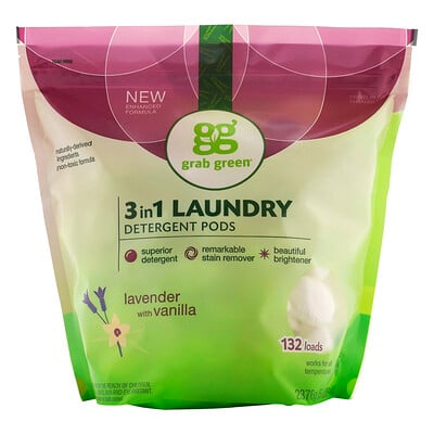 Купить Grab Green Капсулы со стиральным порошком 3-в-1, с ароматом лаванды, 132 стирки, 2376 г (5 фунтов, 4 унции)
