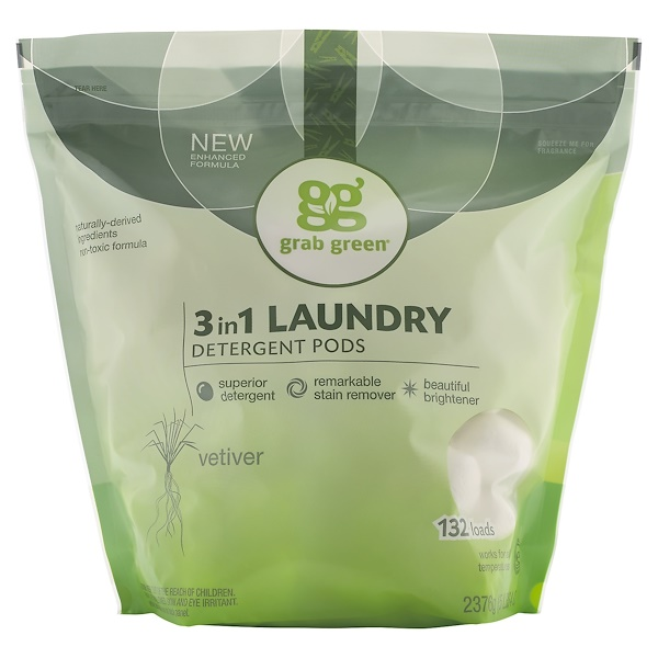Grab Green, 3 in 1 Laundry Detergent Pods, Vetiver,132 Loads, 5lbs, 4oz (2,376 g)
