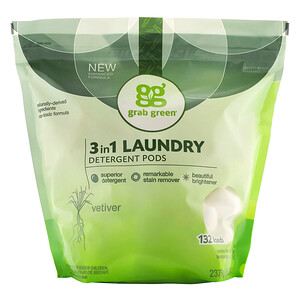 ГрэбГрин, 3 in 1 Laundry Detergent Pods, Vetiver,132 Loads, 5lbs, 4oz (2,376 g) отзывы покупателей