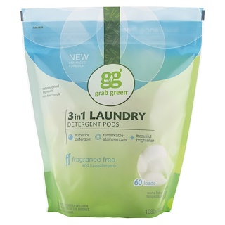 GrabGreen, 3-in-1 Laundry Detergent Pods, Fragrance Free, 60 Loads, 2lbs, 6oz (1,080 g)