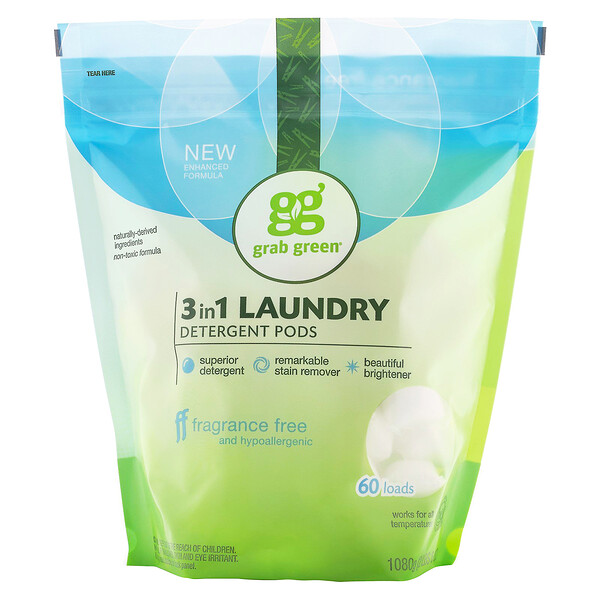 3-in-1 Laundry Detergent Pods, Fragrance Free, 60 Loads, 2lbs, 6oz (1,080 g)