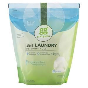 GrabGreen, 3-in-1 Laundry Detergent Pods, Fragrance Free, 60 Loads, 2lbs, 6oz (1,080 g)