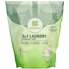Grab Green, 3 合 1 洗衣凝珠,岩蘭草香,60 個裝,2 磅