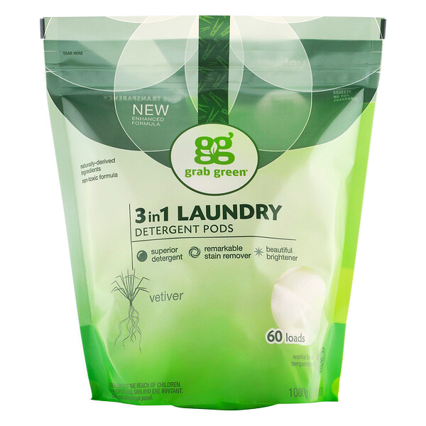 3-in-1 Laundry Detergent Pods, Vetiver, 60 Loads,2lbs, 6oz (1,080 g)