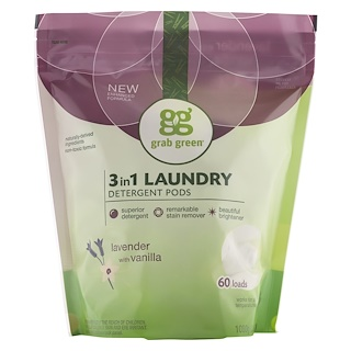 GrabGreen, 3-in-1 Laundry Detergent Pods, Lavender with Vanilla, 60 Loads,2lbs, 6oz (1,080 g)
