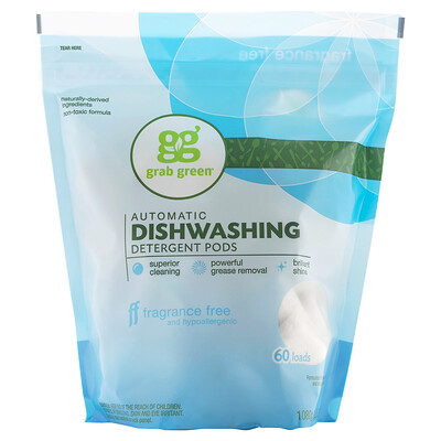 Grab Green моющее средство для автоматических посудомоечных машин в таблетках, без запаха, 60 загрузок, 1080 г (2 фунта, 6 унций)