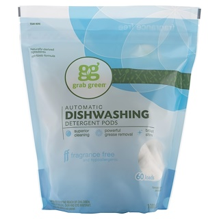 GrabGreen, Automatic Dishwashing Detergent Pods, Fragrance Free, 60 Loads,2lbs, 6oz (1,080 g)