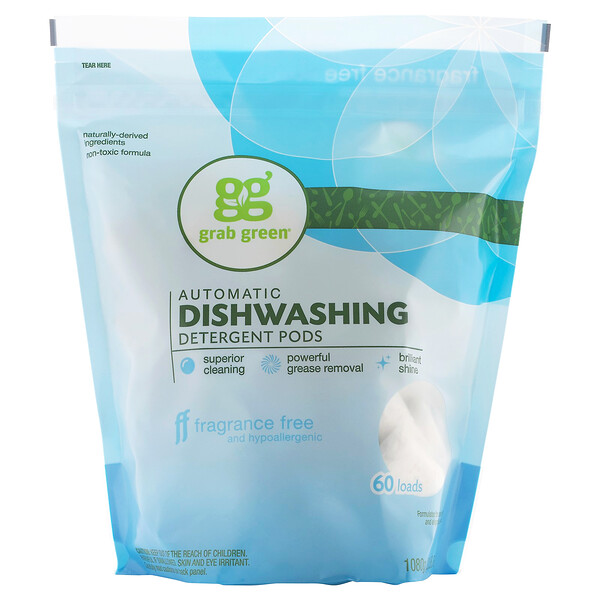 Automatic Dishwashing Detergent Pods, Fragrance Free, 60 Loads,2lbs, 6oz (1,080 g)