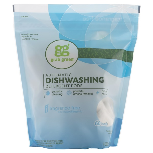 Grab Green, Automatic Dishwashing Detergent Pods, Fragrance Free, 60 Loads,2lbs, 6oz (1,080 g)