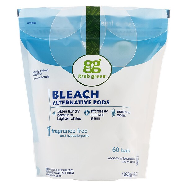 Grab Green, Bleach Alternative Pods, Fragrance Free, 60 Loads, 2 lbs 6 oz (1080 g)