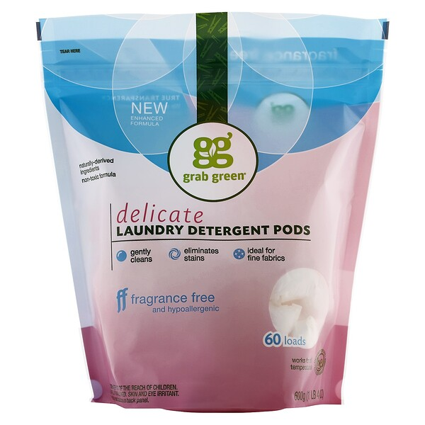 Grab Green, Delicate Laundry Detergent Pods, Fragrance Free, 60 Loads, 1 lb 4 oz (600 g) (Discontinued Item)