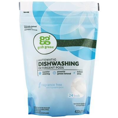 Купить Grab Green Средство для автоматических посудомоечных машин, без отдушек, 24 загрузки, 15, 2 унции (432 г)