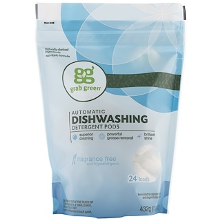 GrabGreen, Automatic Dishwashing Detergent Pods, Fragrance Free, 24 Loads, 15.2 oz (432 g)