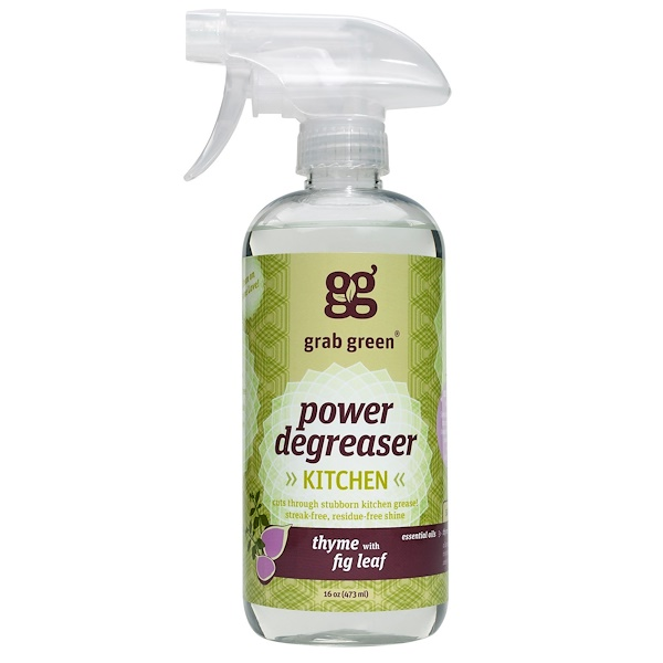 GrabGreen, Kitchen Power Degreaser, Thyme with Fig Leaf, 16 oz (473 ml) (Discontinued Item)