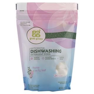 GrabGreen, Automatic Dishwashing Detergent Pods, Thyme with Fig Leaf, 24 Loads, 15.2 oz (432 g)