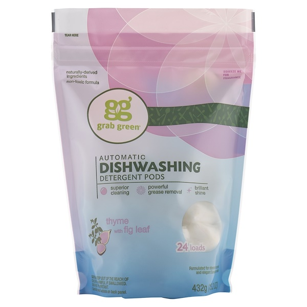 Grab Green, Automatic Dishwashing Detergent Pods, Thyme with Fig Leaf, 24 Loads, 15.2 oz (432 g)