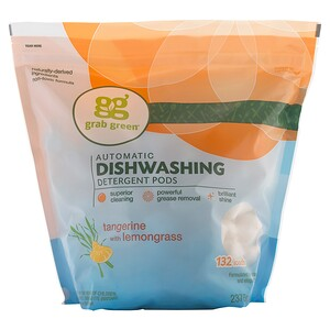 ГрэбГрин, Automatic Dishwashing Detergent Pods, Tangerine with Lemongrass, 132 Loads — 5lbs, 4oz (2,376 g) отзывы покупателей