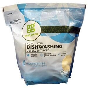 ГрэбГрин, Automatic Dishwashing Detergent Pods, Fragrance Free, 132 Loads — 5lbs, 4oz (2,376 g) отзывы покупателей