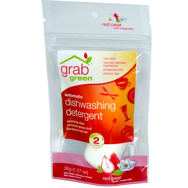 GrabGreen, Automatic Dishwashing Detergent, Red Pear with Magnolia, 2 Loads, 1.27 oz (36 g) (Discontinued Item)