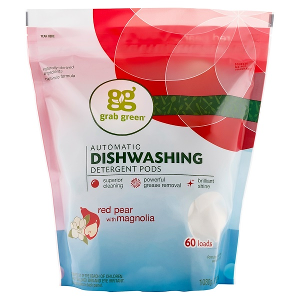 GrabGreen, Automatic Dishwashing Detergent Pods, Red Pear with Magnolia, 60 Loads, 2 lbs 4 oz (1,080 g)