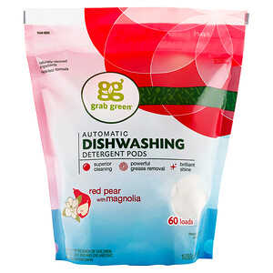 ГрэбГрин, Automatic Dishwashing Detergent Pods, Red Pear with Magnolia, 60 Loads, 2 lbs 4 oz (1,080 g) отзывы покупателей