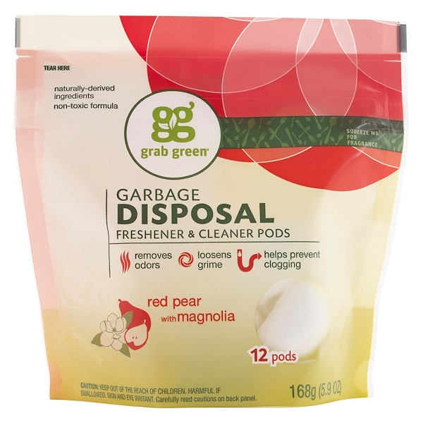 GrabGreen, Garbage Disposal Freshener & Cleaner, Red Pear with Magnolia, 12 Pods, 5.9 oz (168 g)