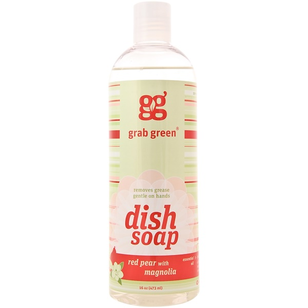 Grab Green, Dish Soap, Red Pear with Magnolia, 16 oz (473 ml) (Discontinued Item)