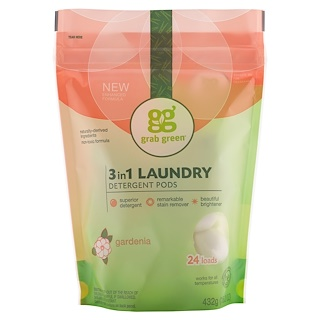 GrabGreen, 3-in-1 Laundry Detergent Pods, Gardenia, 24 Loads, 15.2 oz (432 g)