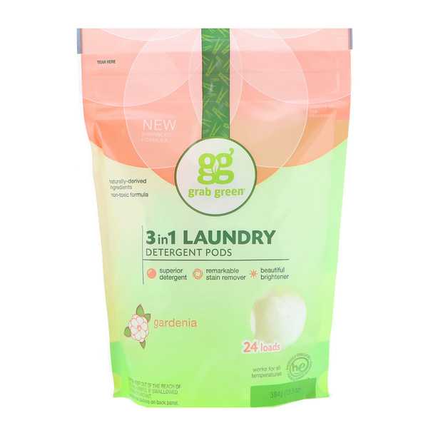 Grab Green, 3-in-1 Laundry Detergent Pods, Gardenia, 24 Loads, 15.2 oz (432 g)