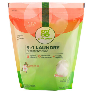 Grab Green, 3 合 1 洗衣珠,梔子花,60 次用量,2 磅,6 盎司(1080 克)