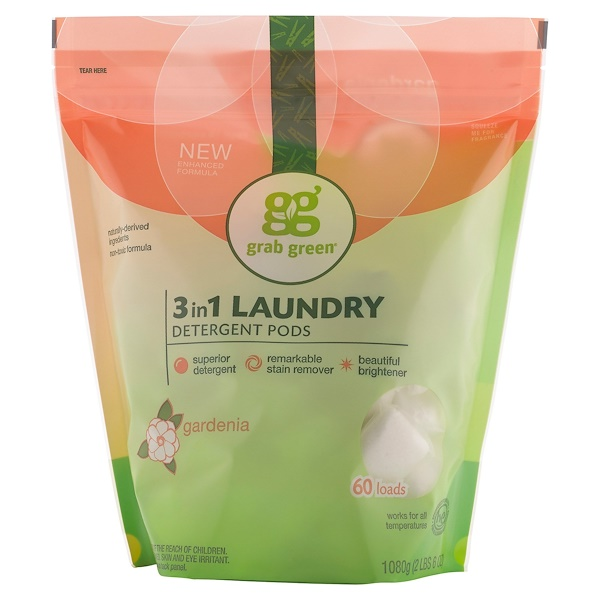 GrabGreen, 3-in-1 Laundry Detergent Pods, Gardenia, 60 Loads,2lbs, 6oz (1,080 g)