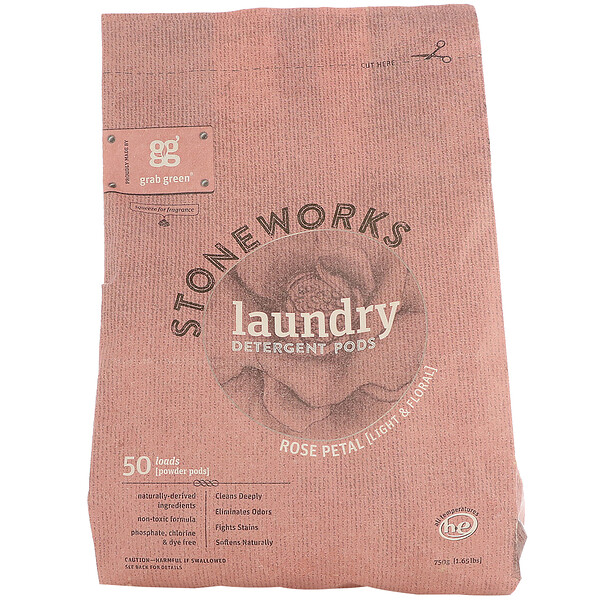 Stoneworks, Laundry Detergent Pods, Rose Petal, 50 Loads, 1.65 lbs (750 g)