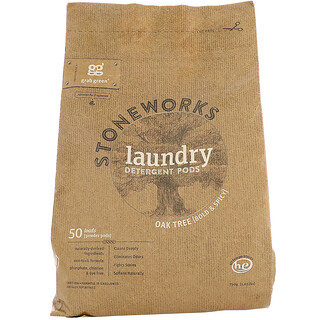 GrabGreen, Stoneworks, Laundry Detergent Pods, Oak Tree, 50 Loads, 1.65 lbs (750 g)