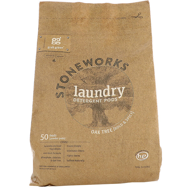 Grab Green, Stoneworks, Laundry Detergent Pods, Oak Tree, 50 Loads, 1.65 lbs (750 g)