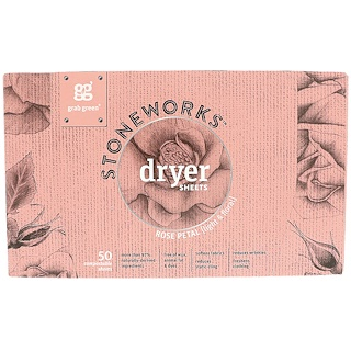 Grab Green, Stoneworks, Dryer Sheets, Rose Petal, 50 Sheets