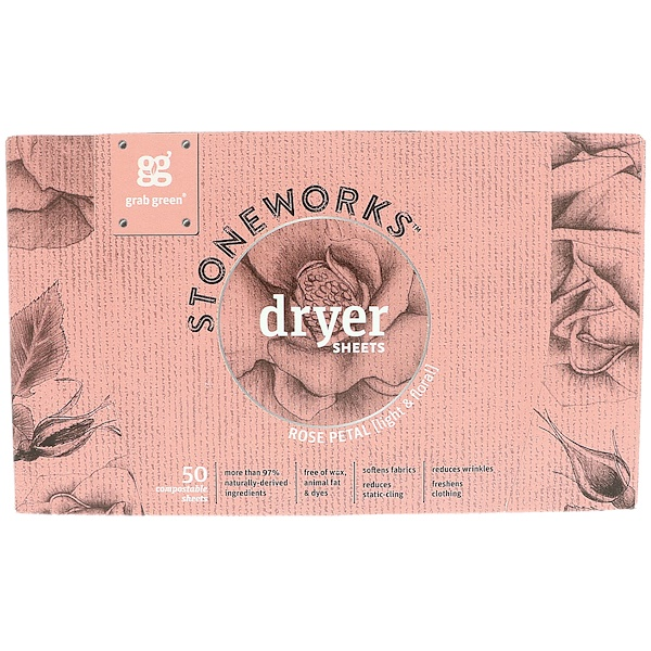 Stoneworks, Dryer Sheets, Rose Petal, 50 Sheets