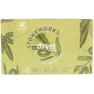 GrabGreen, Stoneworks, салфетки с антистатиком, оливковый лист, 50 биоразлагаемых салфеток