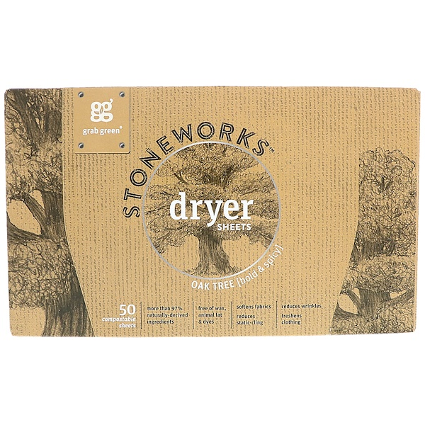 Grab Green, Stoneworks Dryer Sheets, Oak Tree, 50 Compostable Sheets