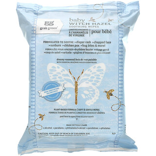 Grab Green, Baby Witch Hazel Soothing Wipes, 32 Wipes