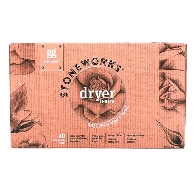 Купить Grab Green Stoneworks, Dryer Sheets, Rose Petal, 80 Compostable Sheets