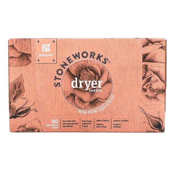 Stoneworks, Dryer Sheets, Rose Petal, 80 Compostable Sheets