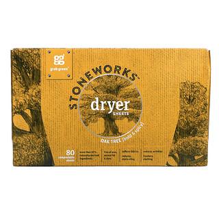 Grab Green, Stoneworks, Dryer Sheets, Oak Tree, 80 Compostable Sheets