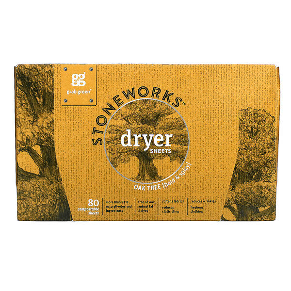 Stoneworks, Dryer Sheets, Oak Tree, 80 Compostable Sheets