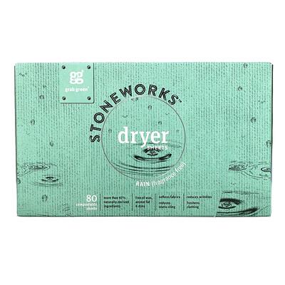Купить Grab Green Stoneworks, Dryer Sheets Rain, 80 Compostable Sheets