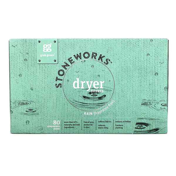 Stoneworks, Dryer Sheets, Rain,  80 Compostable Sheets