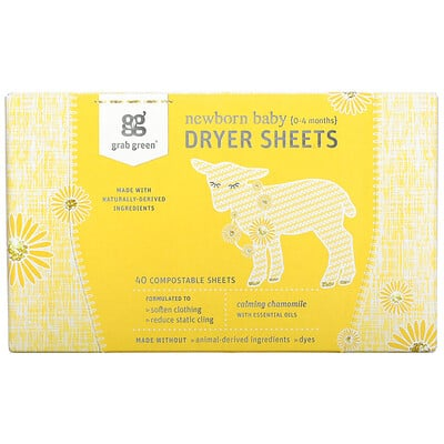 Grab Green Newborn Baby Dryer Sheets, 0-4 Months, Calming Chamomile, 40 Sheets